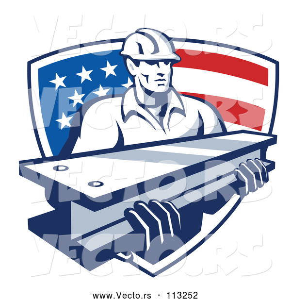 Vector of Retro Male Construction Worker Carrying an I Beam and Emerging from an American Flag Shield