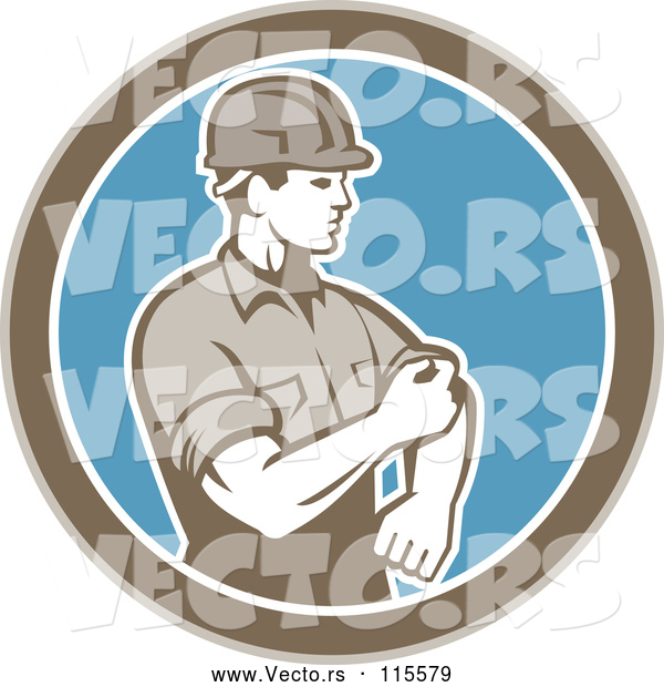 Vector of Retro Male Construction Worker Rolling up His Sleeve in a Brown White and Blue Circle