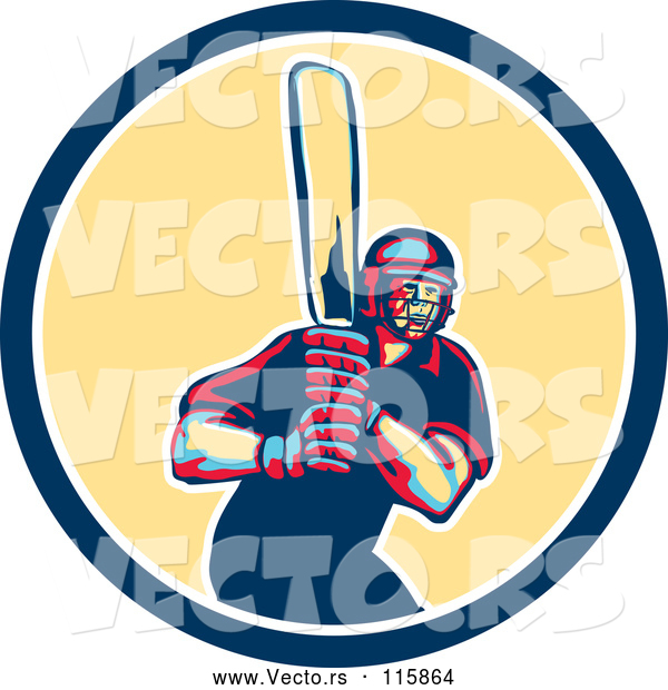 Vector of Retro Male Cricket Batsman in a Blue and Yellow Circle