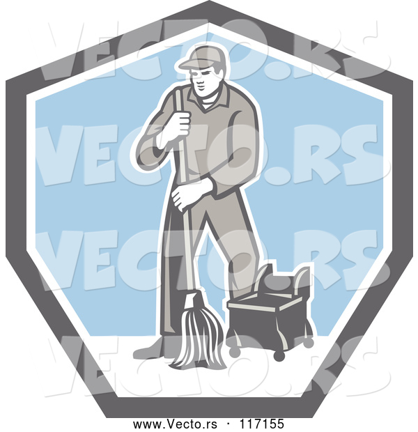 Vector of Retro Male Custodian Janitor in a Shield