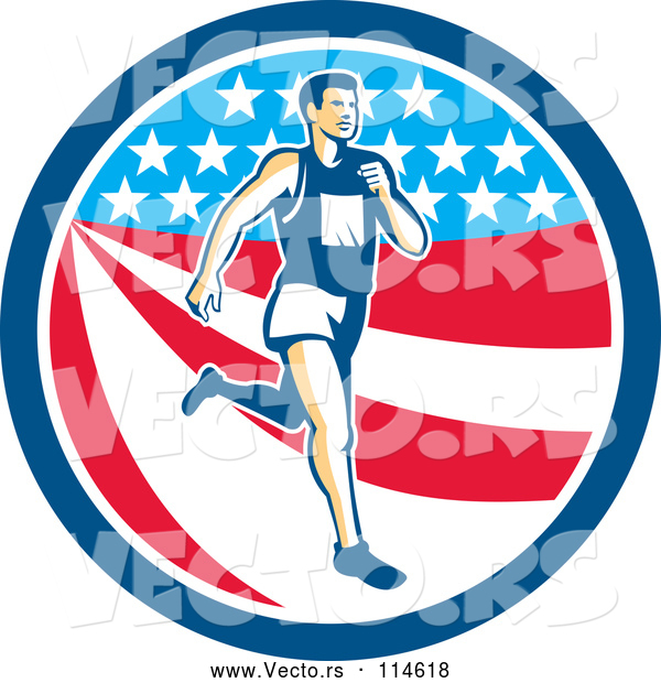 Vector of Retro Male Marathon Runner over an American Stars and Stripes Circle