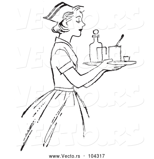 Vector of Retro Nurse Carrying a Tray with Medicine in Black and White