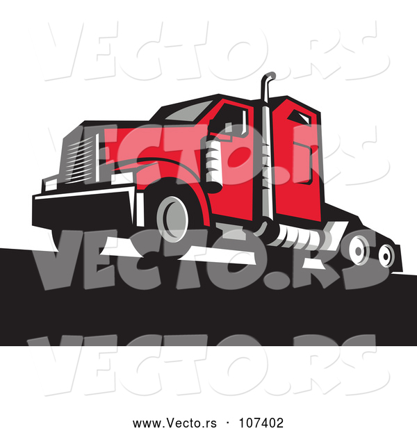 Vector of Retro Red Big Rig Truck