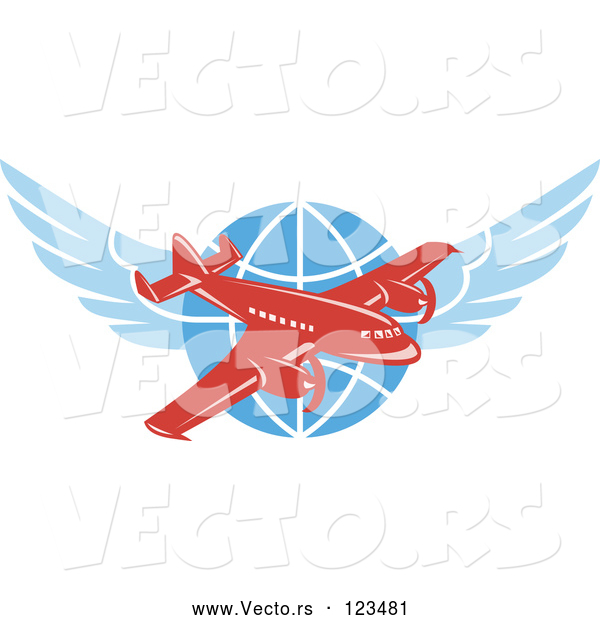 Vector of Retro Red Jumbo Jet Propeller Airplane over a Winged Globe