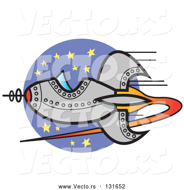 : Vector of Retro Spaceship Flying past Stars