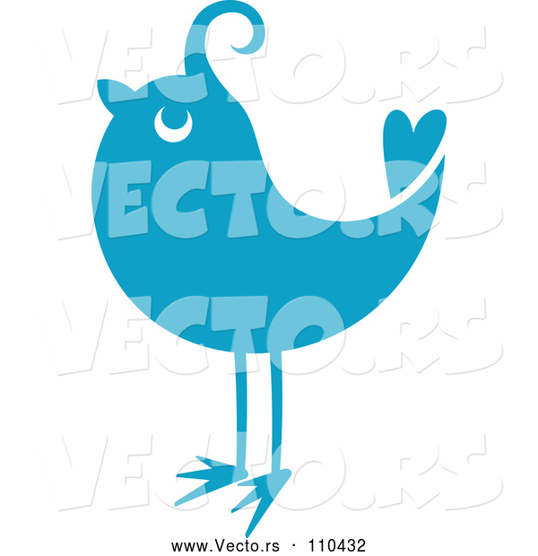 Vector of Retro Styled Blue Bird 2
