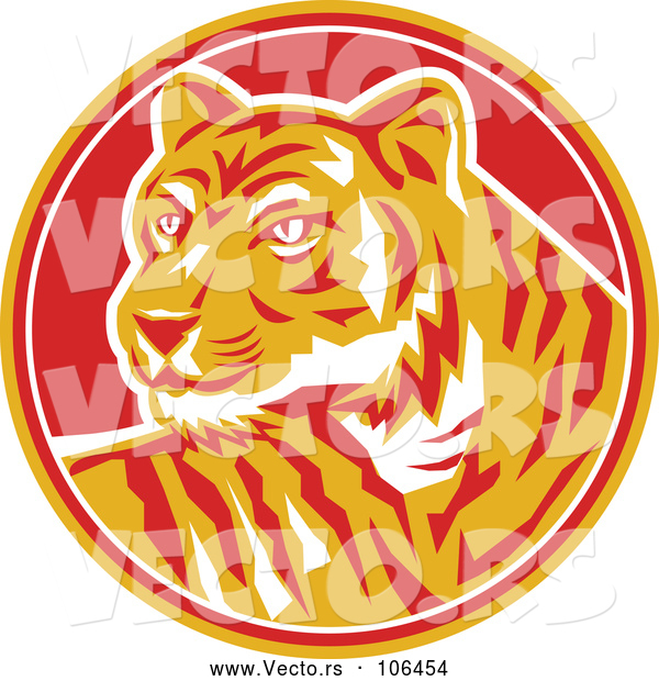 Vector of Retro Tiger in a Yellow, Red and White Circle