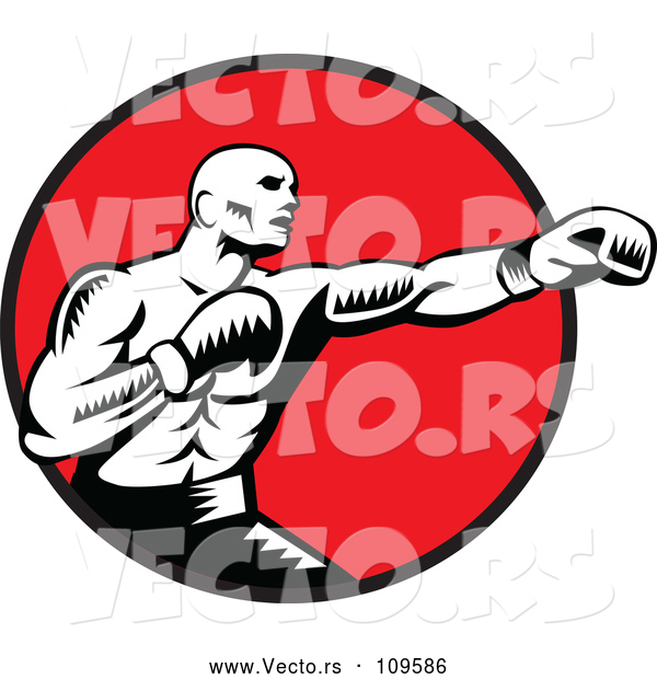 Vector of Retro Woodcut Black and White Male Boxer Jabbing in a Red Circle