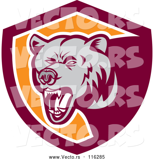 : Vector of Retro Woodcut Grizzly Bear Roaring in a Maroon and Orange Shield