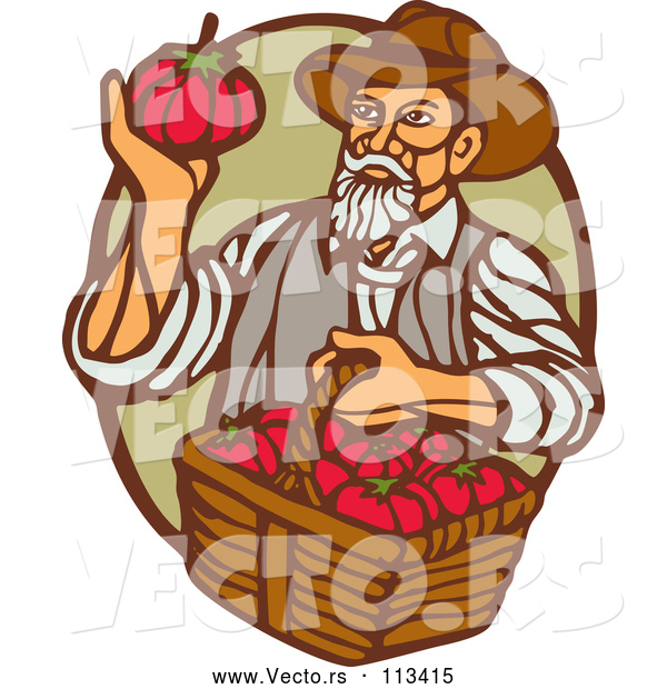 Vector of Retro Woodcut Male Farmer Holding a Basket of Tomatoes and Gazing at One in a Green and Brown Oval