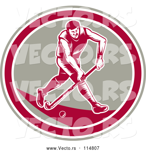 Vector of Retro Woodcut Male Field Hokey Player in a Taupe White and Pink Oval