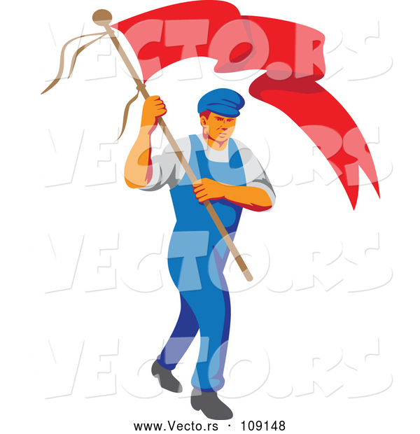 Vector of Retro Wpa Styled Male Worker Marching Wtih a Flag