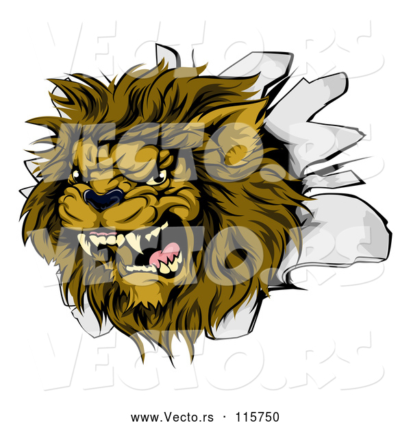 Vector of Roaring Lion Mascot Head Breaking Through a Wall
