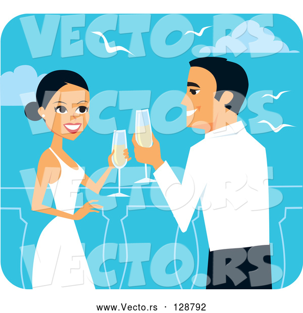 Vector of Romantic Bride and Groom Toasting with Champagne on Their Honeymoon