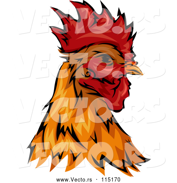 Vector of Rooster Head Mascot