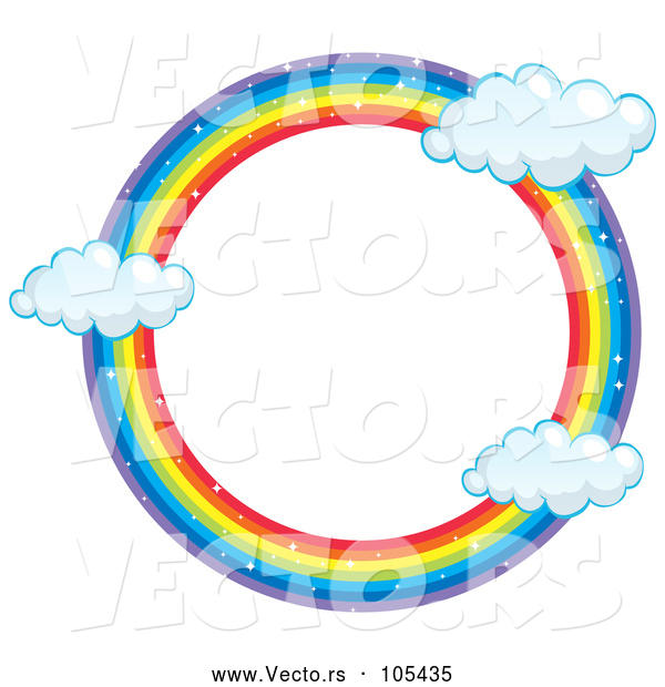 Vector of Round Rainbow Frame with Clouds