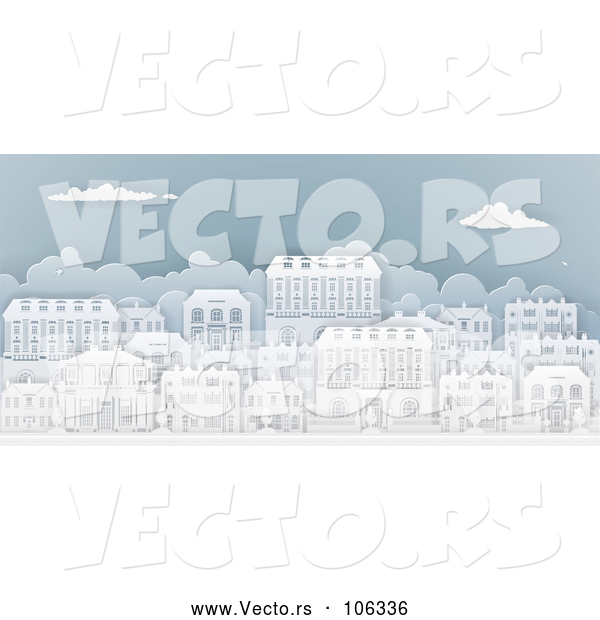 Vector of Row of Paper Cut Styled Georgian or Victorian Houses in a Neighborhood, on Blue