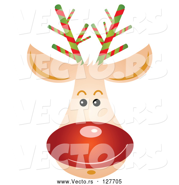 Vector of Rudolph Reindeer Face with a Shiny Red Nose