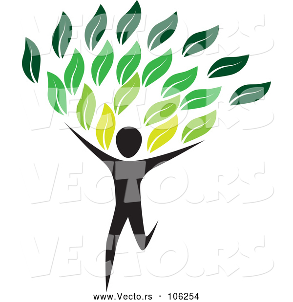 Vector of Running Person with Green Leaves