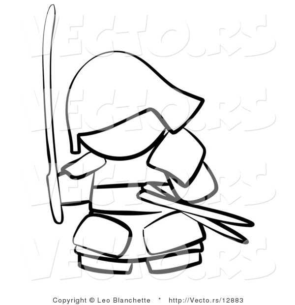 Vector of Samurai with Weapons - Coloring Page Outlined Art