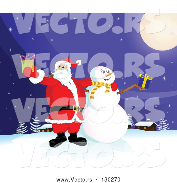 Vector of Santa Claus and Frosty the Snowman Standing Under a Full Moon, Outside on a Snowy Wintry Night, Holding Christmas Presents