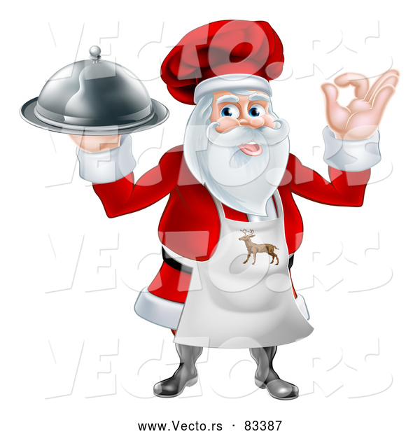 : Vector of Santa Claus Chef Delivering Platter