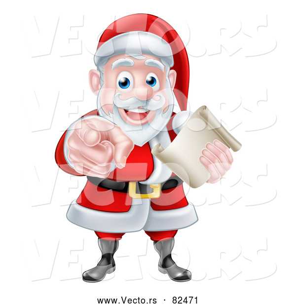 Vector of Santa Claus Holding a List and Pointing Finger
