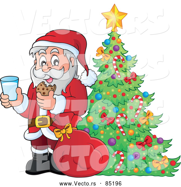 Vector of Santa Enjoying Milk and Cookies Beside a Pretty Christmas Tree