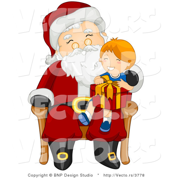 Vector of Santa Giving Present to Happy Boy Sitting on His Lap