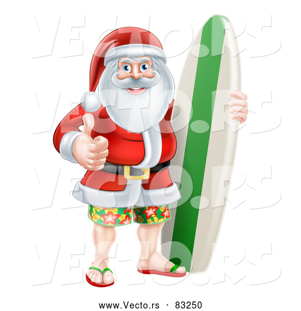Vector of Santa Giving Thumb up with Surf Board