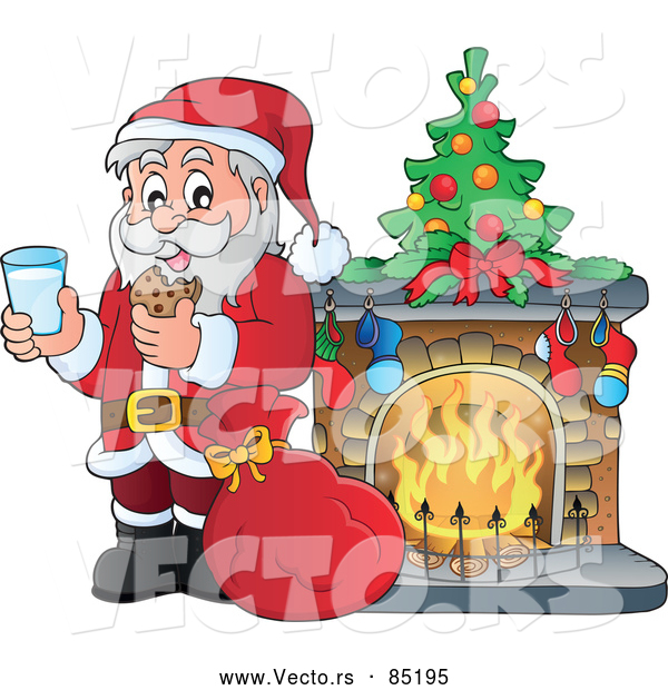 Vector of Santa Having Milk with Cookies Beside a Toasty Fireplace