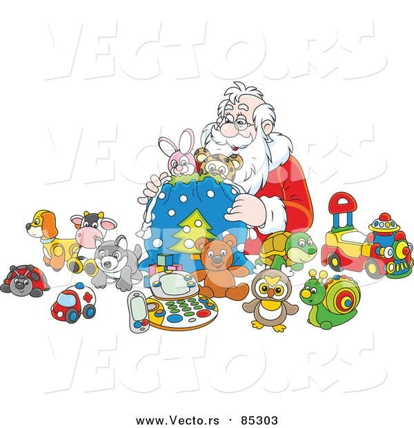 Vector of Santa Putting Toys in a Sack