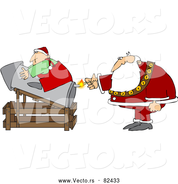 : Vector of Santa Transporting Elf by Rocket Launch