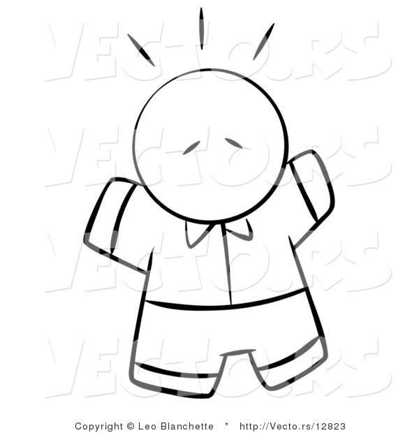 Vector of Scared or Excited Person - Coloring Page Outlined Art
