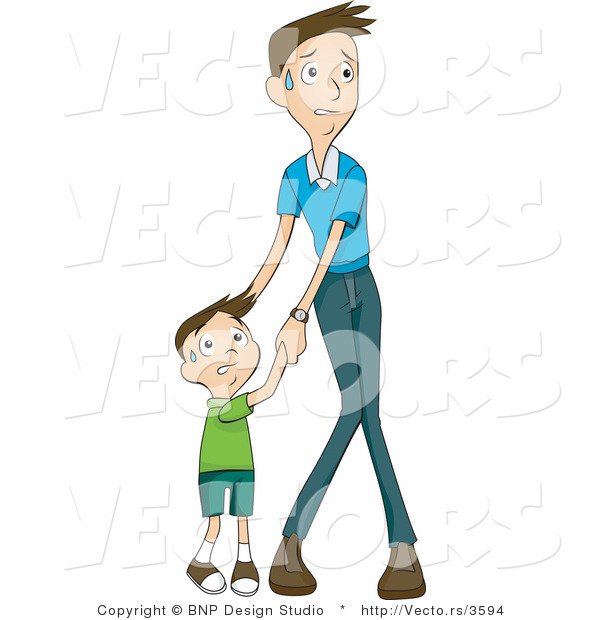 Vector of Scared Son and Father Holding Hands