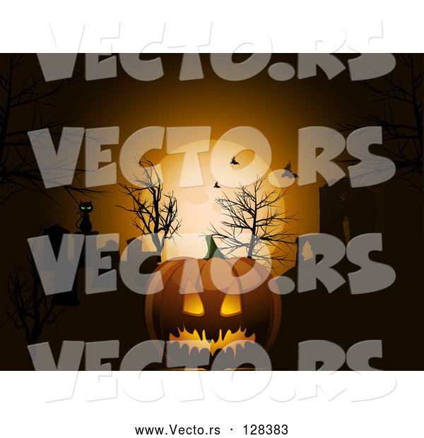 Vector of Scary Halloween Pumpkin Against an Orange Moon and Bats in the Night Sky