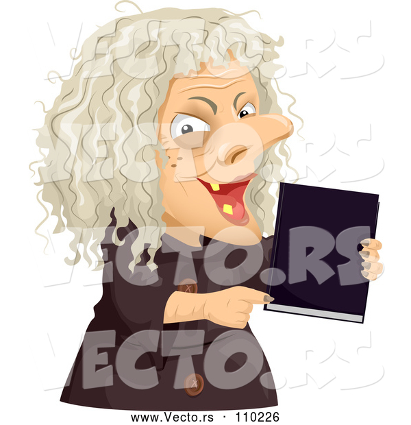 Vector of Scary Old Hag Lady Holding a Spell Book