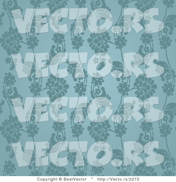 Vector of Seamless Blue Green Floral Pattern Background