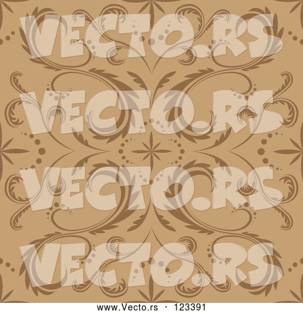 Vector of Seamless Brown and Tan Floral Pattern
