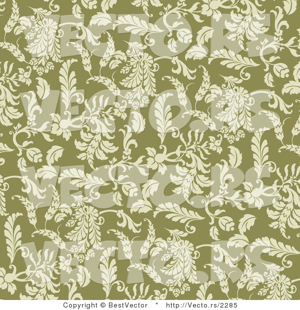 Vector of Seamless Green Floral Pattern Background