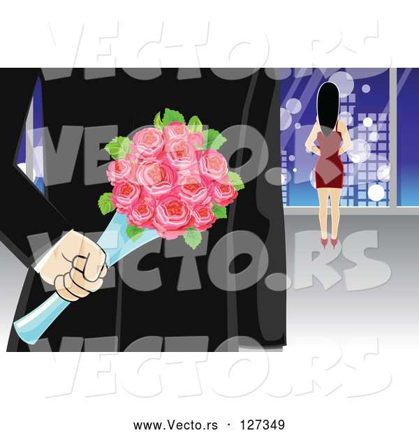 Vector of Secretive Gentleman with Surprise Roses Behind His Back While Walking Towards a Lady