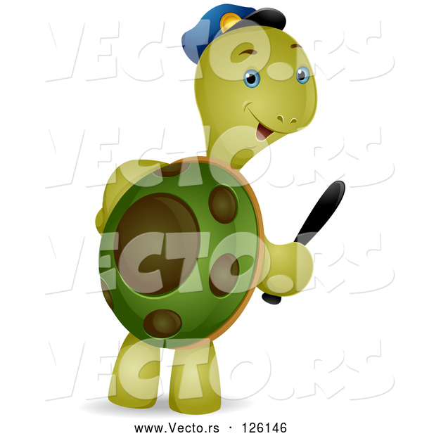 Vector of Security Guard Tortoise Carrying a Baton
