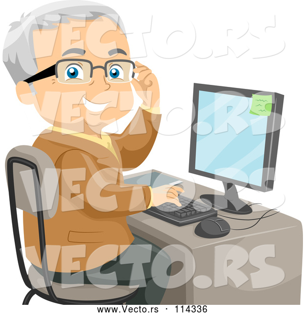 Vector of Senior White Guy Adjusting His Glasses and Using a Desktop Computer