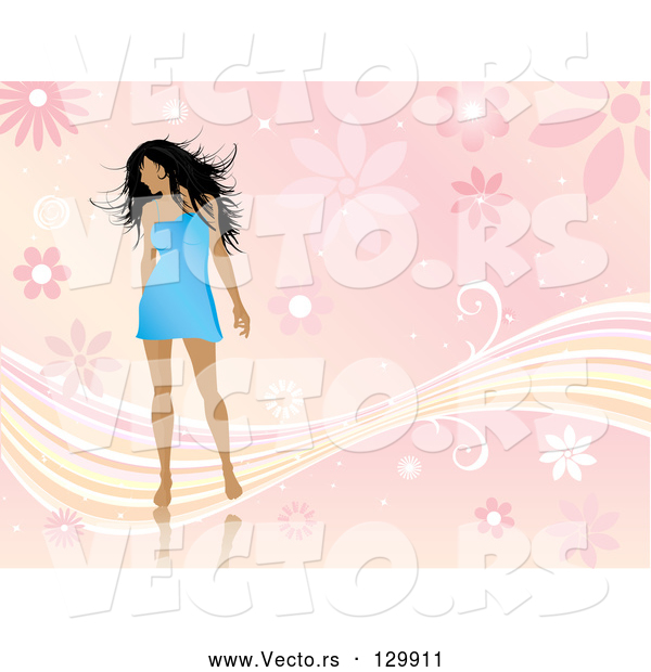 Vector of Sexy Young Black Haired Lady in a Short Blue Dress, Looking over Her Shoulder and Standing over a Pink Floral Background with Waves