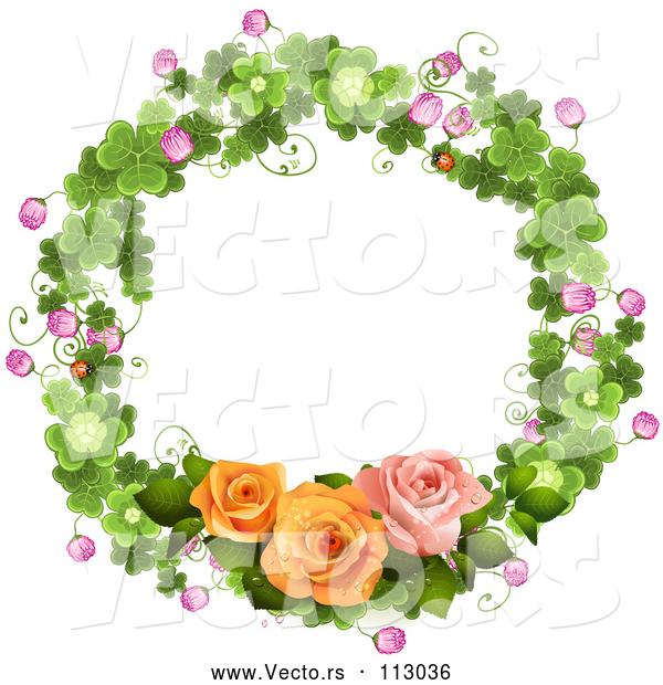 Vector of Shamrock Wreath with Blossoms and Roses