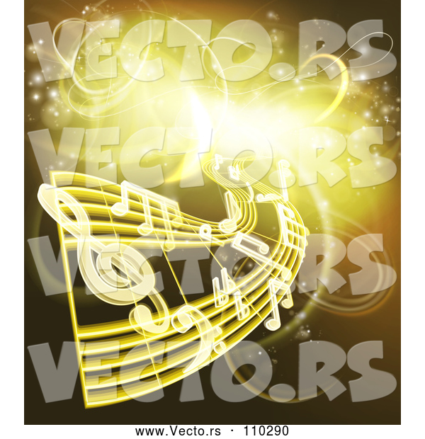 Vector of Sheet Music and Notes over Gold and Yellow Neon Lights