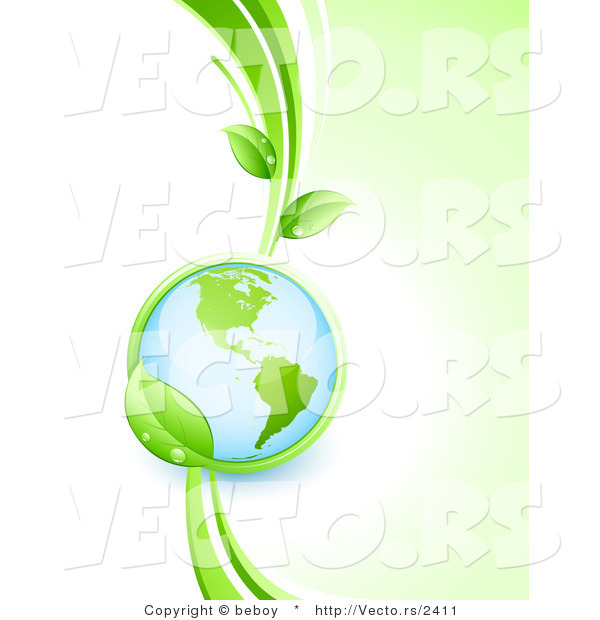 Vector of Shiny 3d Globe Within a Lush Green Leafy Vine