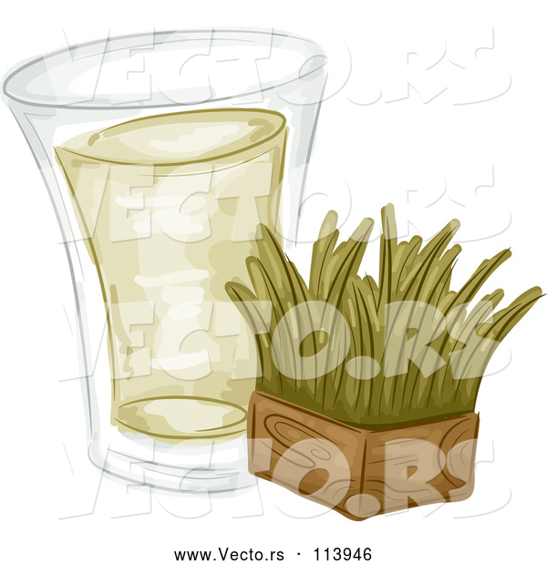 Vector of Shot of Wheat Grass and a Block