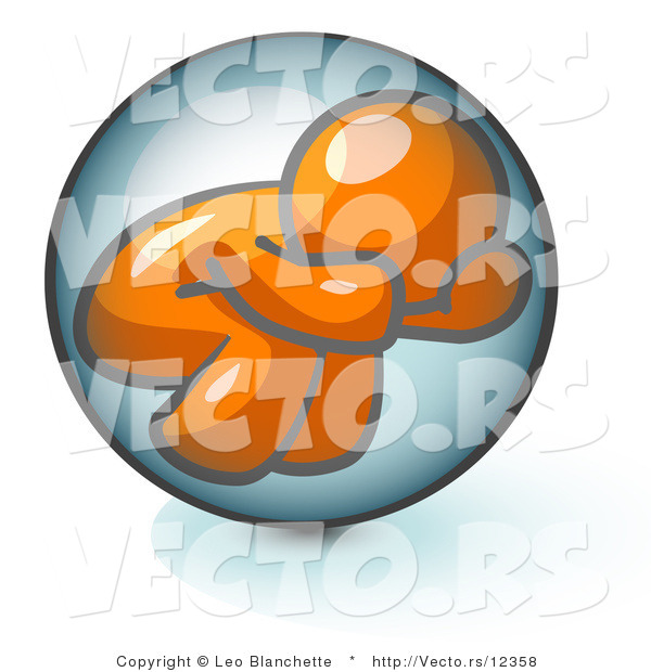 Vector of Shy Orange Guy Hiding Inside a Bubble