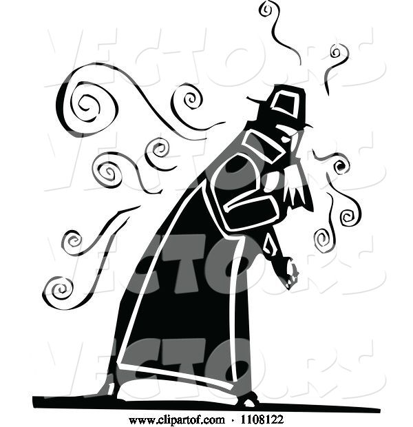 Vector of Sick Old Guy Coughing - Black and White Woodcut Design